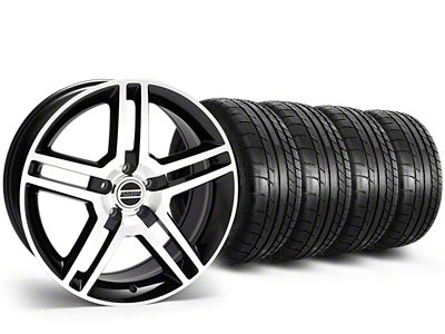 Staggered 2010 GT500 Style Black Machined Wheel & Mickey Thompson Tire Kit - 19x8.5/10 (15-19 All)
