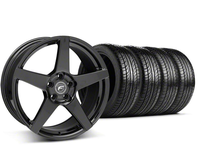 Forgestar CF5 Monoblock Piano Black Wheel & Pirelli Tire Kit - 19x9 (15-19 GT, EcoBoost, V6)
