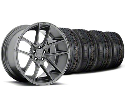 Staggered Niche Targa Anthracite Wheel & NITTO INVO Tire Kit - 19x8.50/9.5 (15-19 All)
