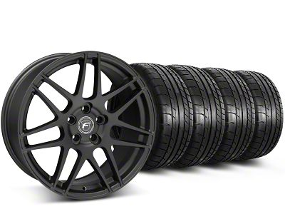 Staggered Forgestar F14 Monoblock Matte Black Wheel & Mickey Thompson Tire Kit - 19x9/10 (15-19 GT, EcoBoost, V6)