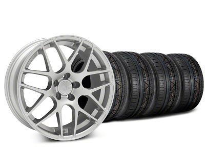 Staggered AMR Silver Wheel & NITTO INVO Tire Kit - 19x8.5/10 (15-19 GT, EcoBoost, V6)