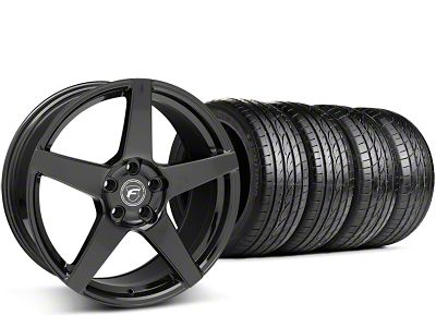 Staggered Forgestar CF5 Piano Black Wheel & Sumitomo Tire Kit - 19x9/10 (15-19 GT, EcoBoost, V6)