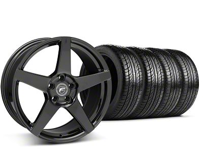 Staggered Forgestar CF5 Piano Black Wheel & Pirelli Tire Kit - 19x9/10 (15-19 GT, EcoBoost, V6)