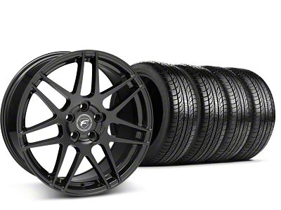 Staggered Forgestar F14 Piano Black Wheel & Pirelli Tire Kit - 19x9/10 (15-19 GT, EcoBoost, V6)
