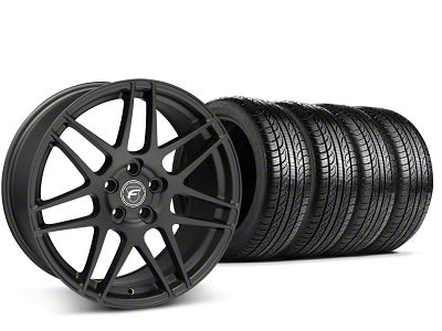 Staggered Forgestar F14 Matte Black Wheel & Pirelli Tire Kit - 19x9/10 (15-19 GT, EcoBoost, V6)
