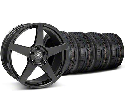 Staggered Forgestar CF5 Piano Black Wheel & NITTO INVO Tire Kit - 19x9/10 (15-19 GT, EcoBoost, V6)