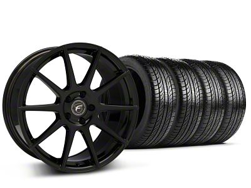 Forgestar CF10 Monoblock Piano Black Wheel & Pirelli Tire Kit - 19x9 (15-19 GT, EcoBoost, V6)