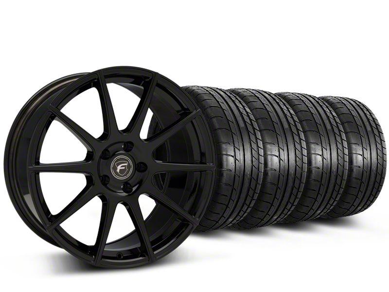 Forgestar CF10 Monoblock Piano Black Wheel & Mickey Thompson Tire Kit - 19x9 (15-19 GT, EcoBoost, V6)