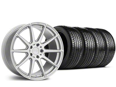 Staggered Niche Essen Silver Wheel & Pirelli Tire Kit - 19x8.5/10 (15-19 All)