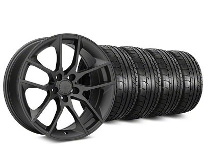 Staggered Magnetic Style Charcoal Wheel & Mickey Thompson Tire Kit - 19x8.5/10 (15-19 GT, EcoBoost, V6)