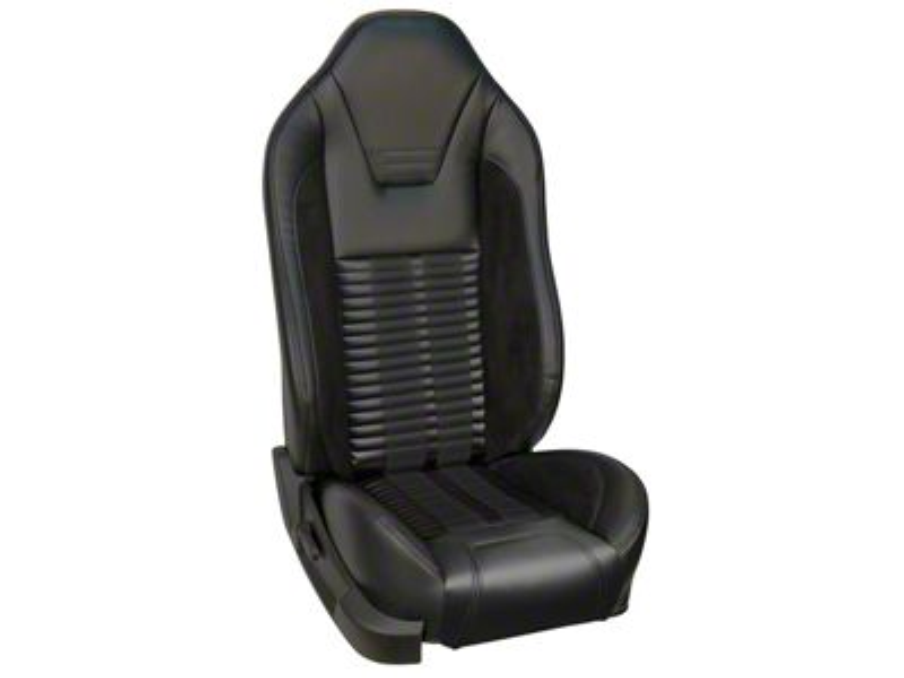 TMI Premium Sport R500 Upholstery & Foam Kit for Airbag Equipped Seats - Black Vinyl & Black Stripe/Stitch (05-10 GT, V6)