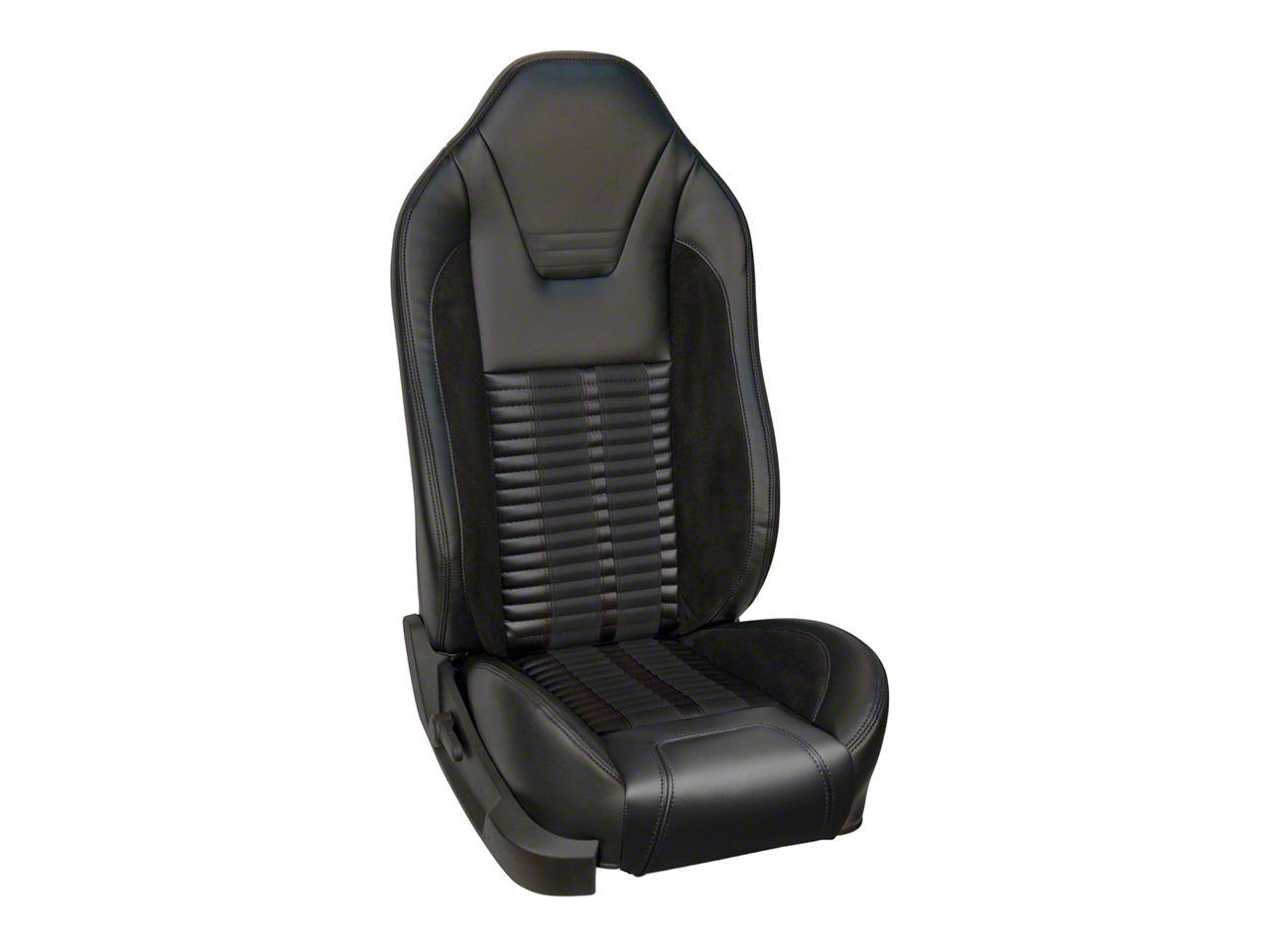 TMI Premium Sport R500 Upholstery & Foam Kit for Airbag Equipped Seats - Black Vinyl & Black Stripe/Stitch (11-12 GT)