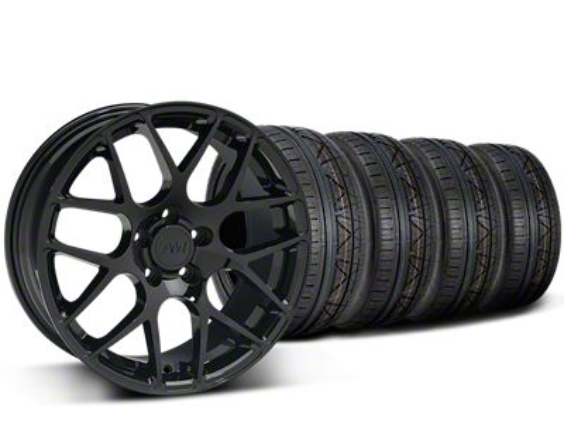 Staggered AMR Black Wheel & NITTO INVO Tire Kit - 19x8.5/11 (15-19 GT, EcoBoost, V6)