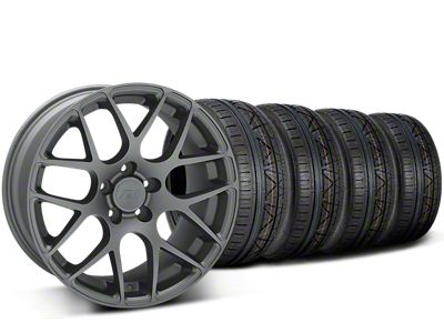 Staggered AMR Charcoal Wheel & NITTO INVO Tire Kit - 19x8.5/11 (15-19 GT, EcoBoost, V6)