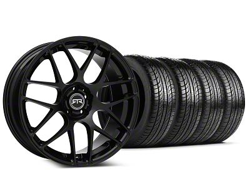 Staggered RTR Black Wheel & Pirelli Tire Kit - 19x8.5/10 (15-19 GT, EcoBoost, V6)