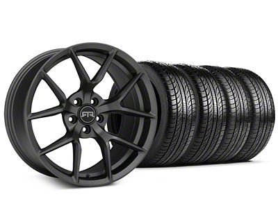 Staggered RTR Tech 5 Charcoal Wheel & Pirelli Tire Kit - 19x9.5/10.5 (15-19 GT, EcoBoost, V6)