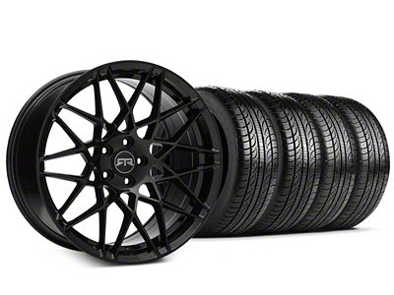Staggered RTR Tech Mesh Black Wheel & Pirelli Tire Kit - 19x9.5/10.5 (15-19 GT, EcoBoost, V6)