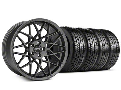 Staggered RTR Tech Mesh Charcoal Wheel & Pirelli Tire Kit - 19x9.5/10.5 (15-19 GT, EcoBoost, V6)