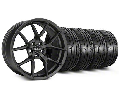 Staggered RTR Tech 5 Charcoal Wheel & Mickey Thompson Tire Kit - 19x9.5/10.5 (15-19 GT, EcoBoost, V6)