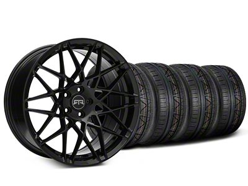 Staggered RTR Tech Mesh Black Wheel & NITTO INVO Tire Kit - 20x9.5/10.5 (15-19 GT, EcoBoost, V6)
