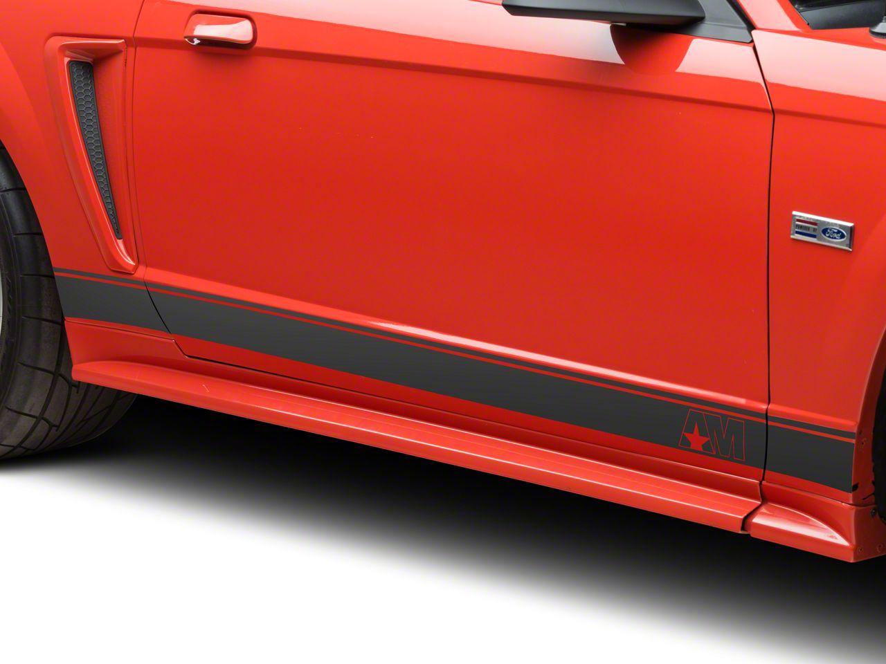 American Muscle Graphics Matte Black Rocker Stripes w/ AM Logo (94-04 All)
