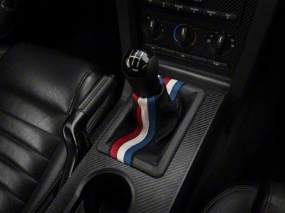 Alterum Premium Black Leather Shift Boot - Red, White & Blue Stripe (05-09 GT, V6)
