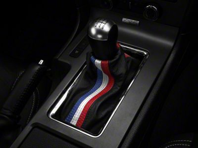 Alterum Premium Black Leather Shift Boot - Red, White & Blue Stripe (10-14 All)