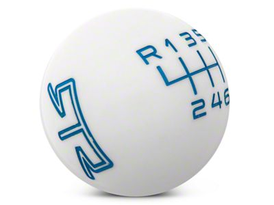 RTR White Shift Knob - Blue Engraving (11-14 GT, V6)