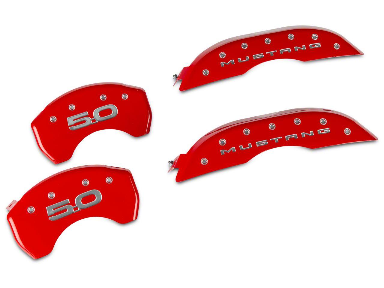 MGP Red Caliper Covers w/ 5.0 Logo - Front & Rear (15-19 Standard GT)