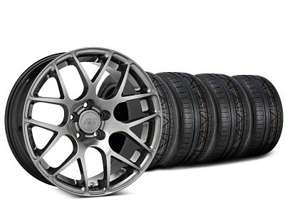 Staggered AMR Dark Stainless Wheel & NITTO INVO Tire Kit - 19x8.5/10 (05-14 All)