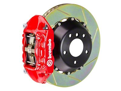 Brembo GT Series 4-Piston Rear Brake Kit - 15 in. Type 1 Slotted Rotors - Red (15-19 GT)