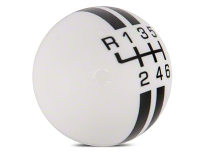 Modern Billet Rally Stripe 6-Speed Shift Knob - White/Black (15-19 GT, EcoBoost, V6)