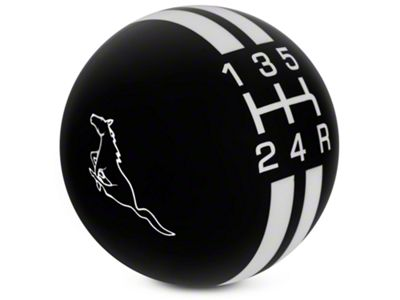 Modern Billet Rally Stripe 5-Speed Shift Knob w/ Running Pony Logo - Black/White (05-10 GT, V6)