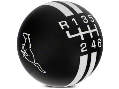 Modern Billet Rally Stripe 6-Speed Shift Knob w/ Running Pony Logo - Black/White (11-14 GT, V6)