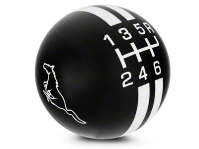 Modern Billet Rally Stripe 6-Speed Shift Knob w/ Running Pony Logo - Black/White (03-04 Cobra)
