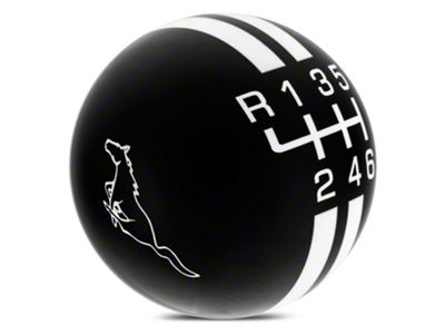 Modern Billet Rally Stripe 6-Speed Shift Knob w/ Running Pony Logo - Black/White (15-19 GT, EcoBoost, V6)