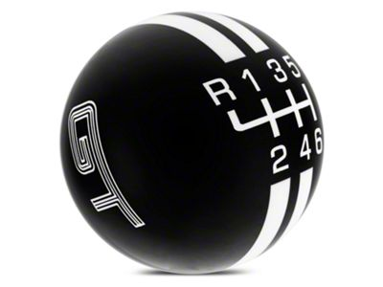 Modern Billet Rally Stripe 6-Speed Shift Knob w/ GT Logo - Black/White (15-19 All)