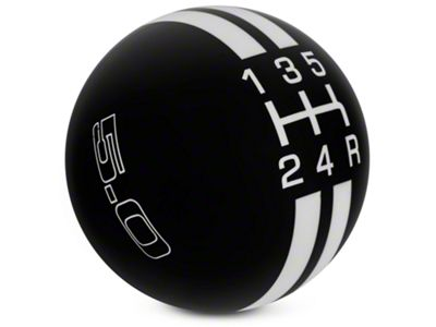 Modern Billet Rally Stripe 5-Speed Shift Knob w/ 5.0 Logo - Black/White (05-10 GT, V6)