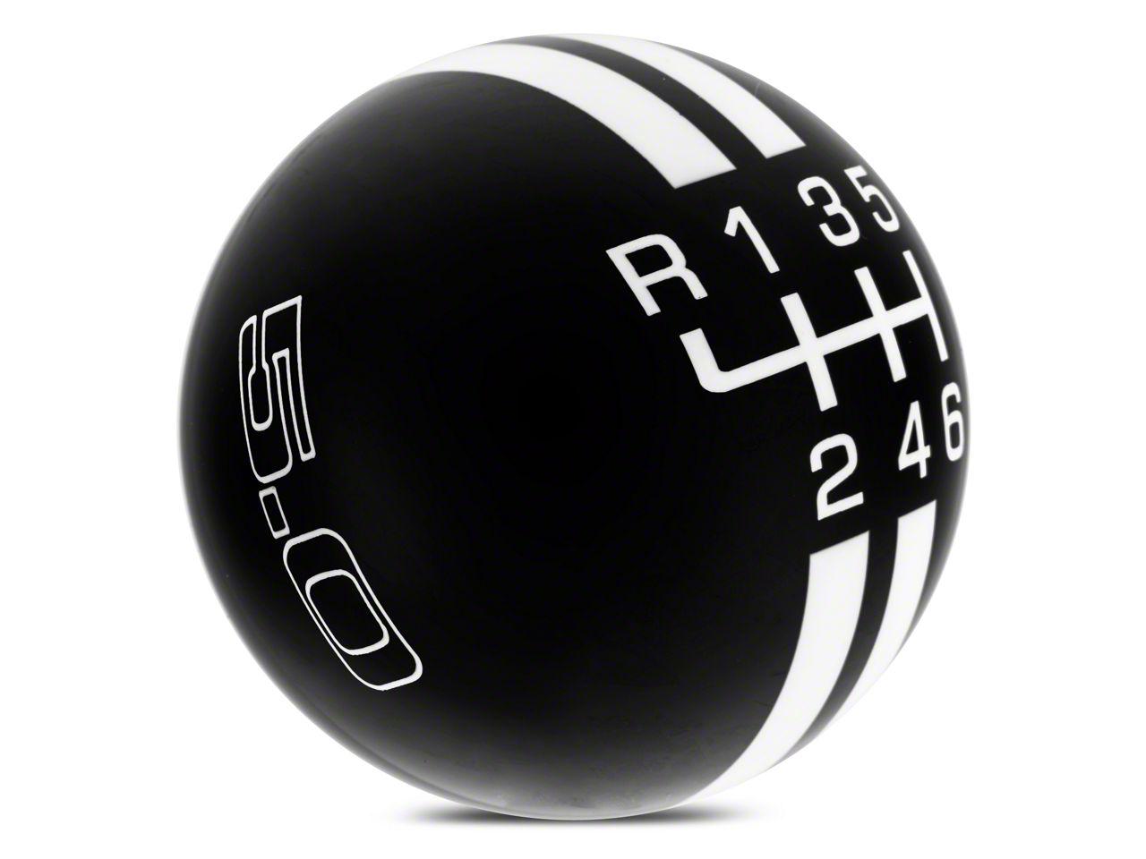 Modern Billet Rally Stripe 6-Speed Shift Knob w/ 5.0 Logo - Black/White (15-19 GT, EcoBoost, V6)