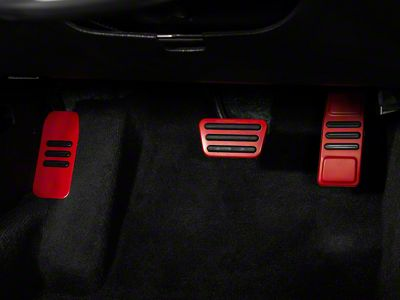 Modern Billet GT500 Style Pedal Covers - Red (05-14 w/ Automatic Transmission)
