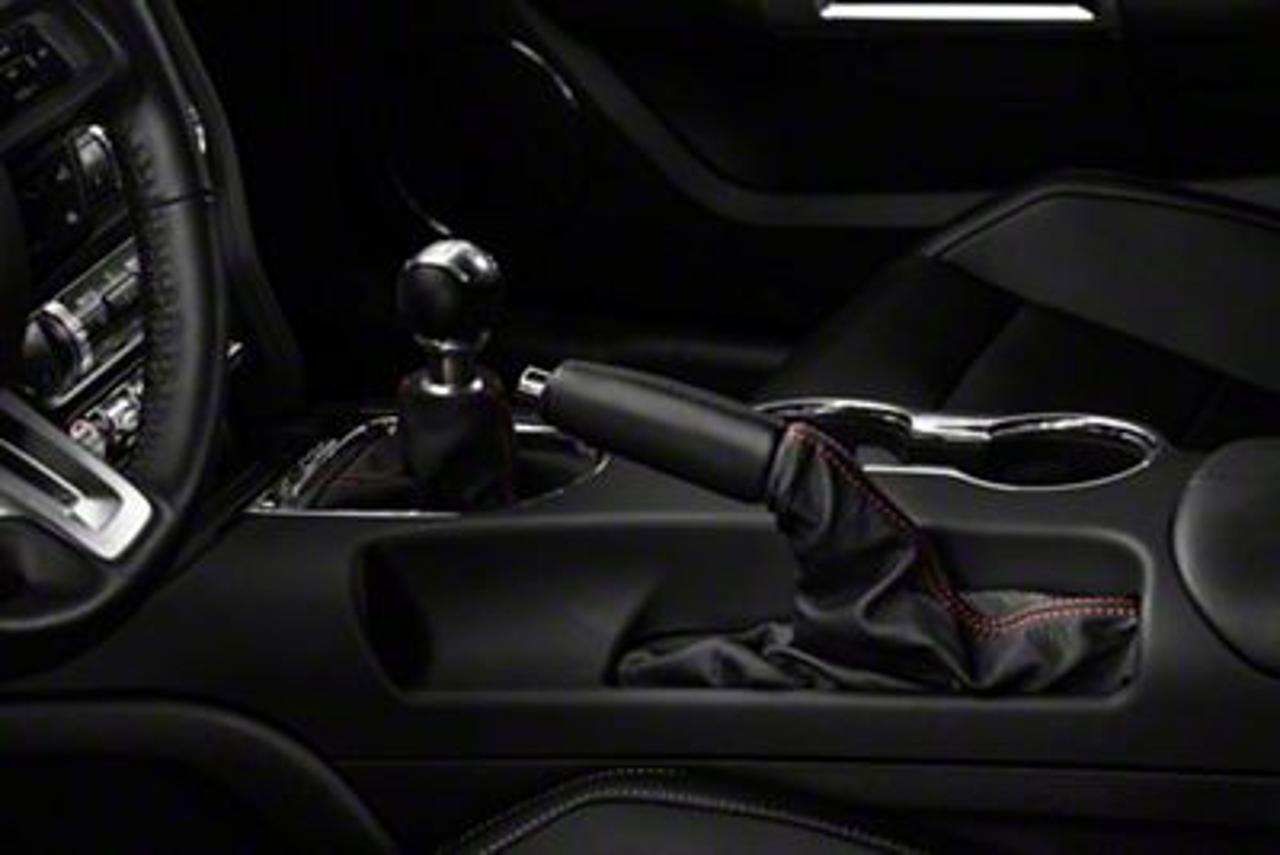 Alterum Premium Black Leather E-Brake Boot - Red Stitching (15-19 All)