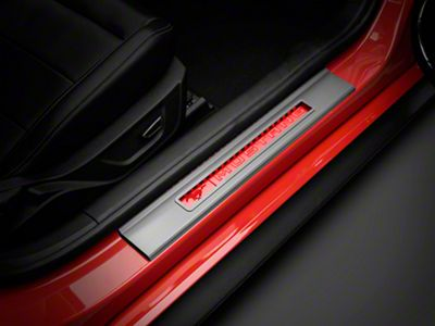 Modern Billet Illuminated Door Sill Plate Covers - Red (15-19 All)