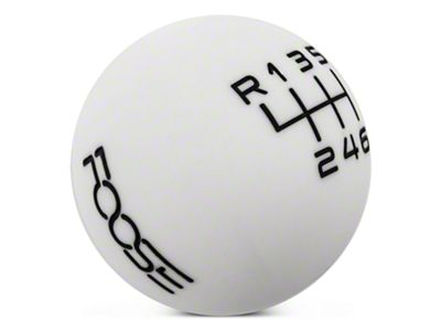 MMD by FOOSE Retro Style 6-Speed Shift Knob w/ FOOSE logo - White (15-19 GT, EcoBoost, V6)
