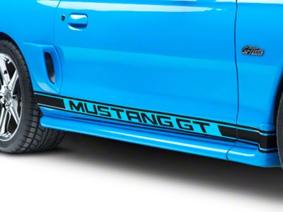 American Muscle Graphics Black Rocker Stripes w/ Mustang GT Lettering (94-04 All)