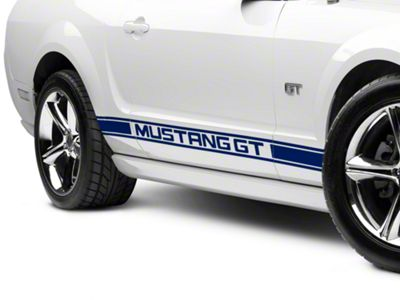 American Muscle Graphics Blue Rocker Stripes w/ Mustang GT Lettering (05-14 All)