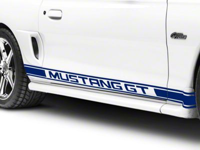 American Muscle Graphics Blue Rocker Stripes w/ Mustang GT Lettering (94-04 All)