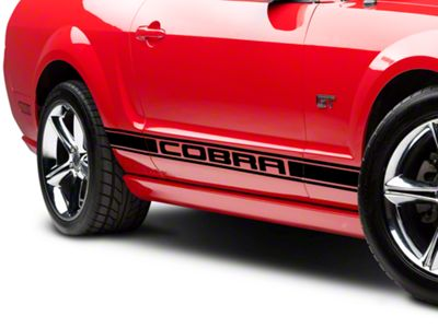 American Muscle Graphics Black Rocker Stripes w/ Cobra Lettering (05-14 All)