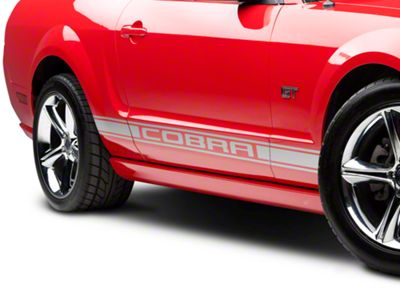 American Muscle Graphics Silver Rocker Stripes w/ Cobra Lettering (05-14 All)