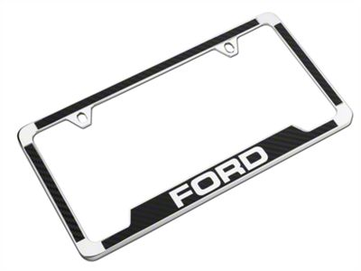 Ford License Plate Frame w/ Carbon Fiber Vinyl Insert (79-19 All)