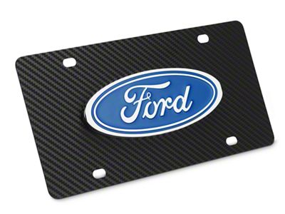 Ford License Plate w/ Carbon Fiber Wrap - Ford Oval (79-19 All)